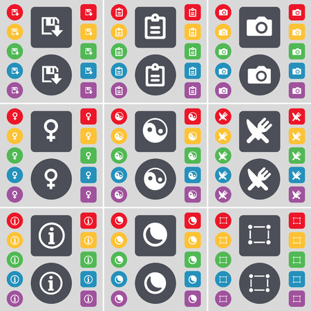 venus symbol: Floppy, Survey, Camera, Venus symbol, Yin-Yang, Fork and knife, Information, Moon, Frame icon symbol. A large set of flat, colored buttons for your design. illustration