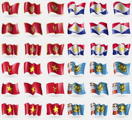 pierre: Montenegro, Saba, Vietnam, Saint Pierre and Miquelon. Set of 36 flags of the countries of the world. illustration