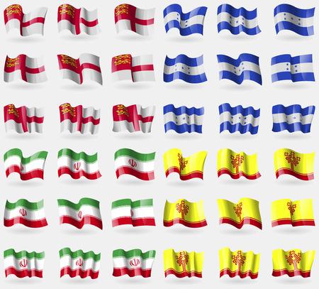 sark: Sark, Honduras, Iran, Chuvashia. Set of 36 flags of the countries of the world. illustration
