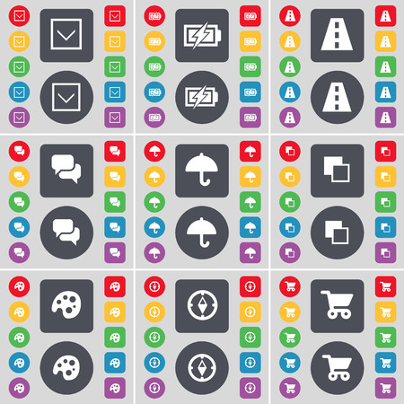 cart road: Arrow down, Charging, Road, Chat, Umbrella, Copy, Palette, Compass, Shopping cart icon symbol. A large set of flat, colored buttons for your design. illustration