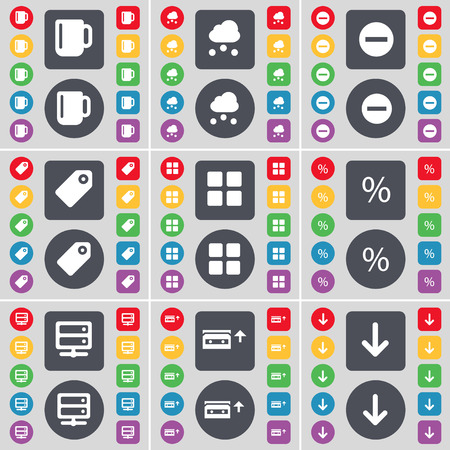 arrow down icon: Cup, Cloud, Minus, Tag, Apps, Percent, Server, Cassette, Arrow down icon symbol. A large set of flat, colored buttons for your design. illustration