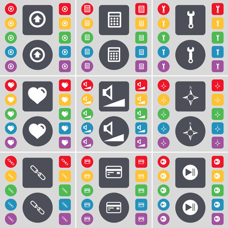 link up: Arrow up, Calculator, Wrench, Heart, Volume, Compass, Link, Credit card, Media skip icon symbol. A large set of flat, colored buttons for your design. illustration Stock Photo