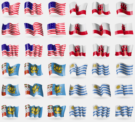 atoll: Bikini Atoll, Gibraltar, Saint Pierre and Miquelon, Uruguay. Set of 36 flags of the countries of the world. illustration