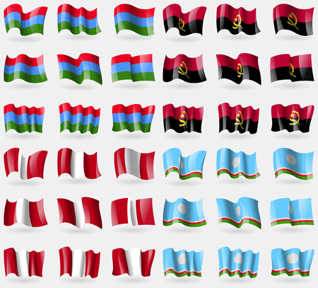 republic of peru: Karelia, Angola, Peru, Sakha Republic. Set of 36 flags of the countries of the world. illustration Stock Photo
