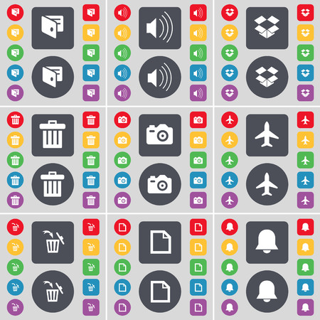 dropbox: Wallet, Sound, Dropbox, Trash can, Camera, Airplane, Trash can, File, Notification icon symbol. A large set of flat, colored buttons for your design. illustration