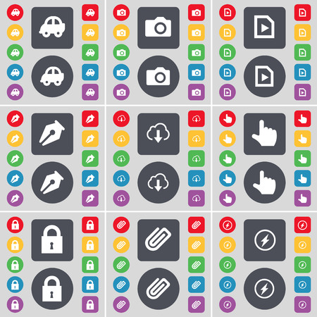 car lock: Car, Camera, Media file, Ink pen, Cloud, Hand, Lock, Clip, Flash icon symbol. A large set of flat, colored buttons for your design. illustration
