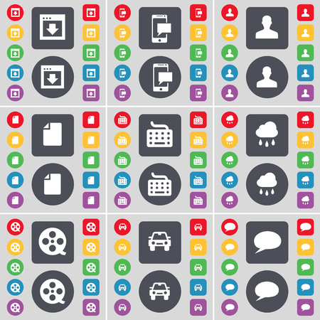 videotape: Window, SMS, Avatar, File, Keyboard, Cloud, Videotape, Car, Chat bubble icon symbol. A large set of flat, colored buttons for your design. illustration Stock Photo
