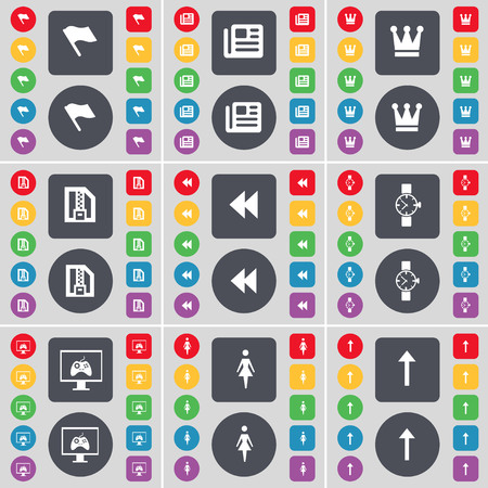 red flag up: Flag, Newspaper, Crown, ZIP file, Rewind, Wrist watch, Monitor, Silhouette, Arrow up icon symbol. A large set of flat, colored buttons for your design. illustration