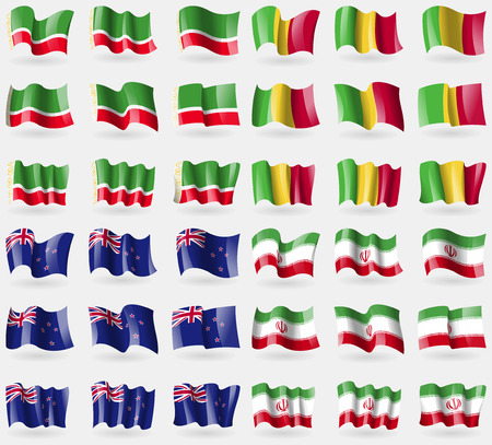 new zeland: Chechen Republic, Mali, New Zeland, Iran. Set of 36 flags of the countries of the world. illustration