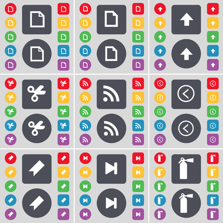 up marker: File, Arrow up, Scissors, RSS, Arrow left, Marker, Media skip, Fire extinguisher icon symbol. A large set of flat, colored buttons for your design. illustration Stock Photo
