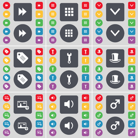 silk hat: Rewind, Apps, Arrow down, Tag, Wrench, Silk hat, Picture, Sound, Mars symbol icon symbol. A large set of flat, colored buttons for your design. illustration
