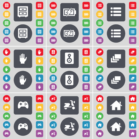 bedtable: Bed-table, Charging, List, Hand, Speaker, Gallery, Gamepad, Scooter, House icon symbol. A large set of flat, colored buttons for your design. illustration