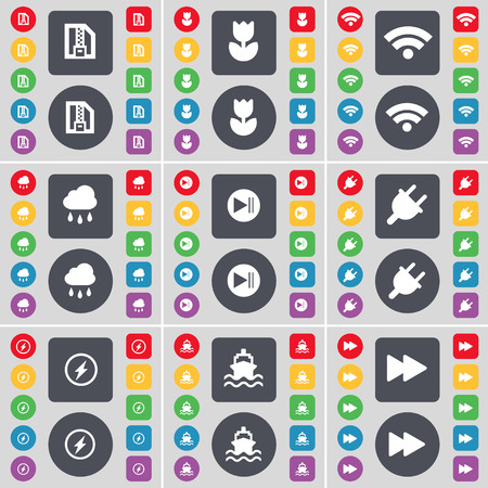 skip: ZIP file, Flower, Wi-Fi, Cloud, Media skip, Socket, Flash, Ship, Rewind icon symbol. A large set of flat, colored buttons for your design. illustration