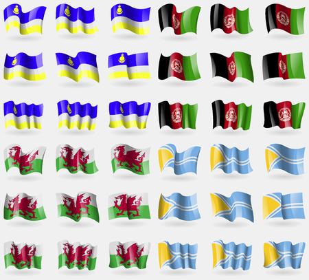 buryatia: Buryatia, Afghanistan, Wales, Tuva. Set of 36 flags of the countries of the world. illustration