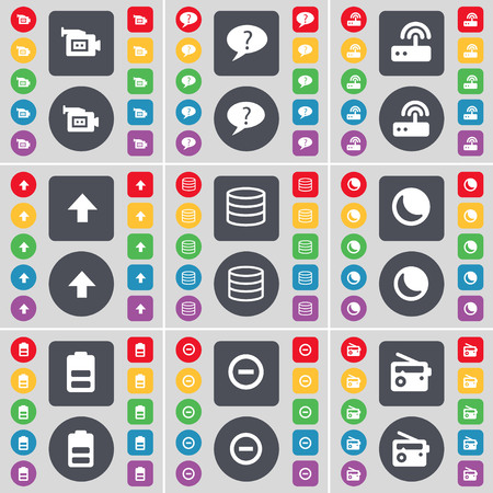 chat up: Film camera, Chat bubble, Router, Arrow up, Database, Moon, Battery, Minus, Radio icon symbol. A large set of flat, colored buttons for your design. illustration Stock Photo