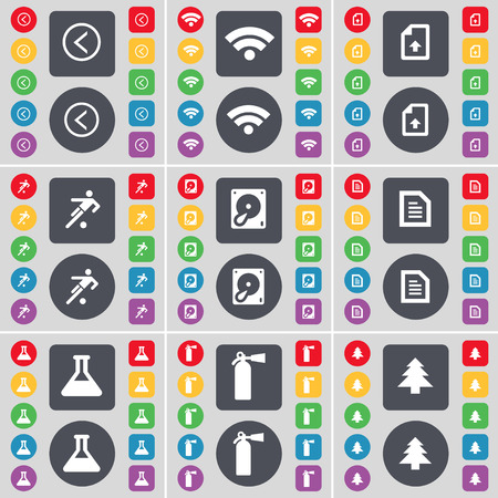 fire extinguisher symbol: Arrow left, Wi-Fi, Upload file, Silhouette, Text file, Flask, Fire extinguisher, Firtree icon symbol. A large set of flat, colored buttons for your design. illustration