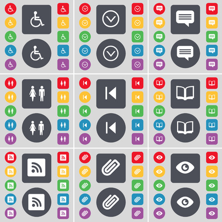 disabled person: Disabled person, Arrow down, Chat bubble, Silhouette, Media skip, Book, RSS, Clip, Vision icon symbol. A large set of flat, colored buttons for your design. illustration