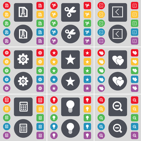 heart gear: ZIP file, Scissors, Arrow left, Gear, Star, Heart, Calculator, Light bulb, Magnifying glass icon symbol. A large set of flat, colored buttons for your design. illustration