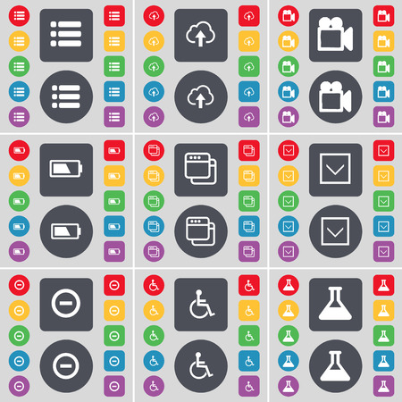 disabled person: List, Cloud, Film camera, Battery, Window, Arrow down, Mnus, Disabled person, Flask icon symbol. A large set of flat, colored buttons for your design. illustration