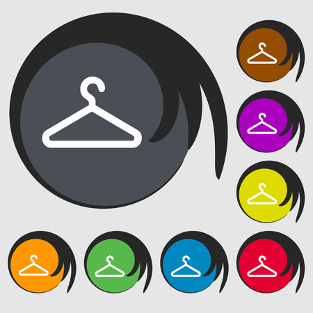 spring coat: clothes hanger icon sign. Symbol on eight colored buttons. illustration Stock Photo