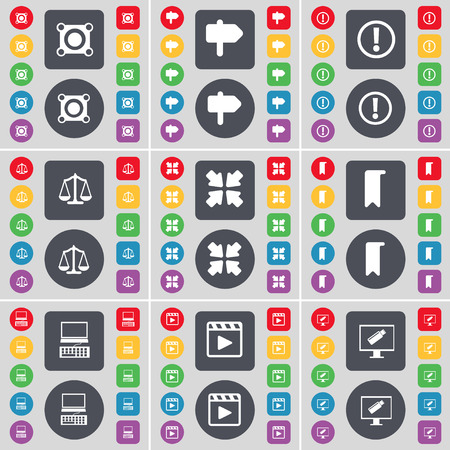 media player: Speaker, Signpost, Warning, Scales, Deploying screen, Marker, Laptop, Media player, Monitor icon symbol. A large set of flat, colored buttons for your design. illustration