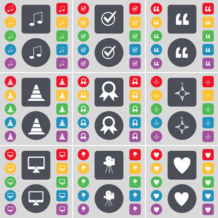 heart monitor: Note, Tick, Quotation mark, Cone, Medal, Connection, Monitor, Film camera, Heart icon symbol. A large set of flat, colored buttons for your design. illustration Stock Photo