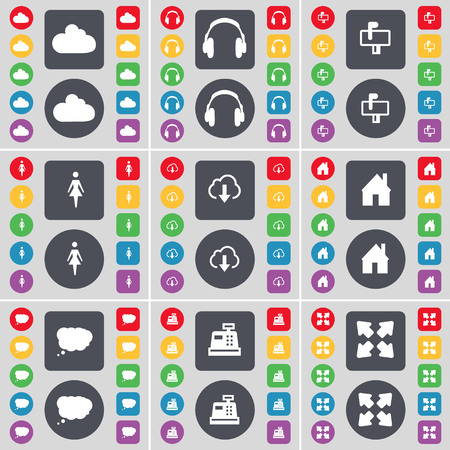 full screen: Cloud, Headphones, Mailbox, Silhouette, Cloud, House, Chat cloud, Cash register, Full screen icon symbol. A large set of flat, colored buttons for your design. illustration