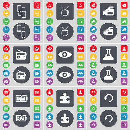tv film: Connection, Retro TV, Film camera, Radio, Vision, Flask, Charging, Puzzle part, Reload icon symbol. A large set of flat, colored buttons for your design. illustration Stock Photo