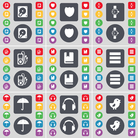 mp3 player: Hard drive, Badge, Wrist watch, MP3 player, Dictionary, Apps, Umbrella, Headphone, Bird icon symbol. A large set of flat, colored buttons for your design. illustration