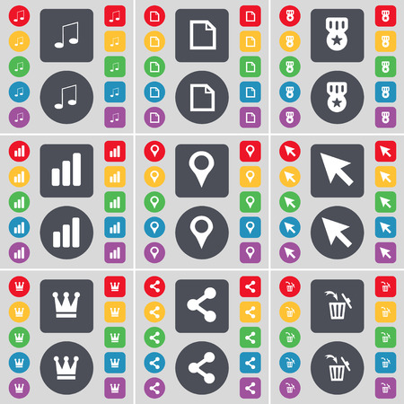 file share: Note, File, Medal, Diagram, Checkpoint, Cursor, Crown, Share, Trash can icon symbol. A large set of flat, colored buttons for your design. illustration