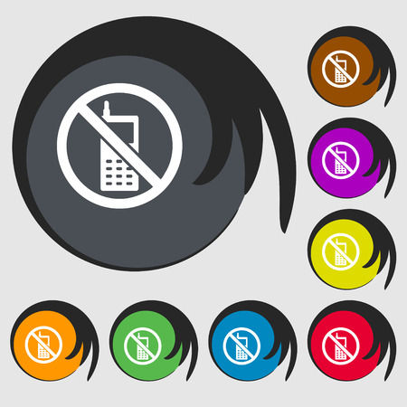 cell phones not allowed: mobile phone is prohibited icon sign. Symbol on eight colored buttons. illustration Stock Photo