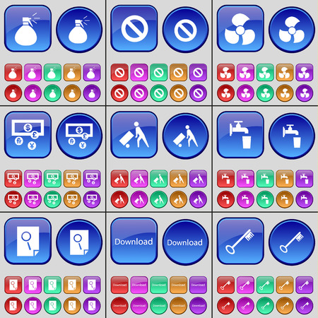 screw key: Spray, Stop, Screw, Currency, Silhouette, Tap, Note, Download, Key. A large set of multi-colored buttons. illustration Stock Photo