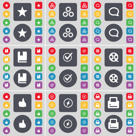 videotape: Star, Gear, Chat bubble, Dictionary, Tick, Videotape, Like, Flash, Printer icon symbol. A large set of flat, colored buttons for your design. illustration Stock Photo