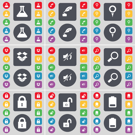 dropbox: Flask, Ink pot, Checkpoint, Dropbox, Mute, Magnifying glass, Lock, Battery icon symbol. A large set of flat, colored buttons for your design. illustration