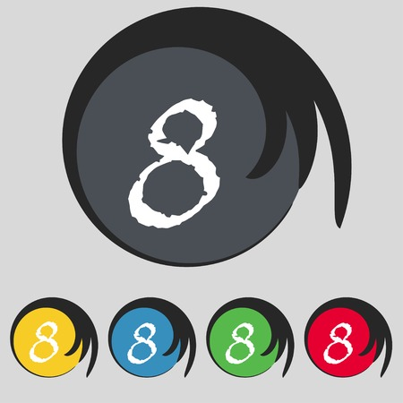 number eight: number Eight icon sign. Set of coloured buttons. illustration