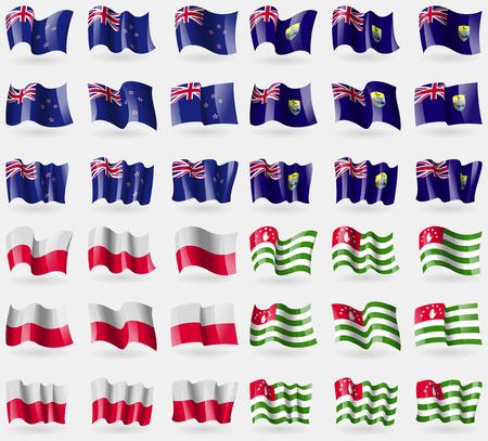 new zeland: New Zeland, Saint Helena, Poland, Abkhazia. Set of 36 flags of the countries of the world. illustration