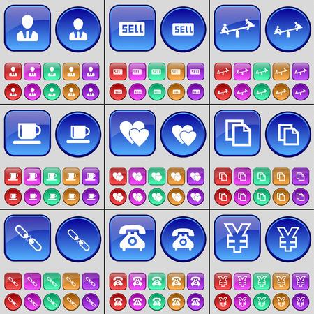 disco duro: Scooter, Diagrama, torre de la bandera, engranaje, Disco duro, descuento. Un gran conjunto de botones multicolores. ilustración