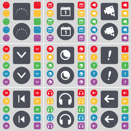 arrow left icon: Star, Calendar, CCTV, Arrow down, Moon, Exclamation mark, Media skip, Headphones, Arrow left icon symbol. A large set of flat, colored buttons for your design. illustration Stock Photo