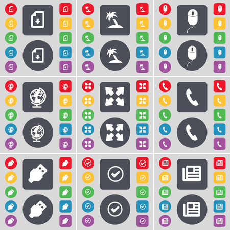full screen: Download file, Palm, Mouse, Globe, Full screen, Receiver, USB, Tick, Newspaper icon symbol. A large set of flat, colored buttons for your design. illustration