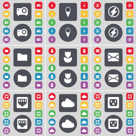 lan: Projector, Checkpoint, Flash, Folder, Flower, Message, LAN socket, Cloud, Socket icon symbol. A large set of flat, colored buttons for your design. illustration