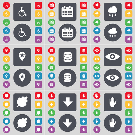disabled person: Disabled person, Calendar, Cloud, Checkpoint, Database, Vision, Leaf, Arrow down, Hand icon symbol. A large set of flat, colored buttons for your design. illustration
