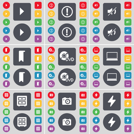 bedtable: Media play, Warning, Mute, Marker, DVD, Laptop, Bed-table, Camera, Flash icon symbol. A large set of flat, colored buttons for your design. illustration