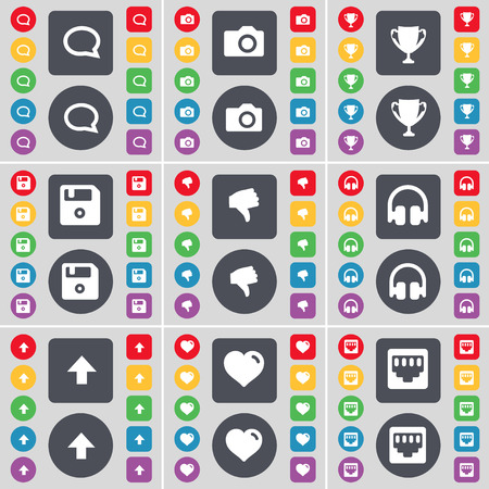 lan: Chat bubble, Camera, Cup, Floppy, Dislike, Headphones, Arrow up, Heart, LAN socket icon symbol. A large set of flat, colored buttons for your design. illustration