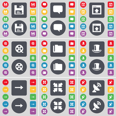 videotape: Floppy, Chat bubble, Window, Videotape, Folder, Silk hat, Arrow right, Deploying screen, Satellite dish icon symbol. A large set of flat, colored buttons for your design. illustration Stock Photo