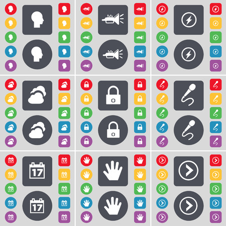 arrow right icon: Silhouette, Trumped, Flash, Cloud, Lock, Microphone, Calendar, Hand, Arrow right icon symbol. A large set of flat, colored buttons for your design. illustration Stock Photo