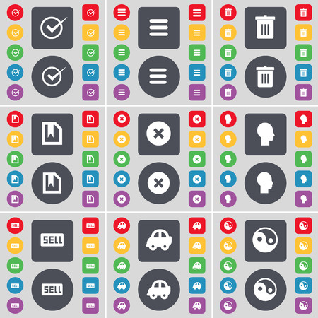 sell car: Tick, Apps, Trash can, File, Stop, Silhouette, Sell, Car, Yin-Yang icon symbol. A large set of flat, colored buttons for your design. illustration Stock Photo