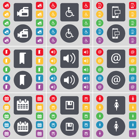 disabled person: Film camera, Disabled person, SMS, Marker, Sound, Mail, Calendar, Floppy, Silhouette icon symbol. A large set of flat, colored buttons for your design. illustration