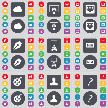 mark pen: Cloud, Monitor, Socket, Ink pen, Gamepad, New, Videotape, Avatar, Question mark icon symbol. A large set of flat, colored buttons for your design. illustration