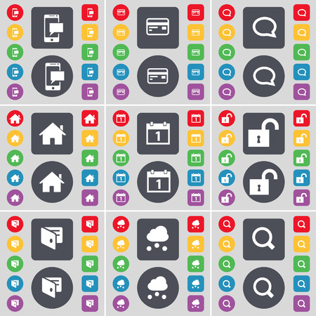 magnifying glass icon: SMS, Credit card, Chat bubble, House, Calendar, Lock, Wallet, Cloud, Magnifying glass icon symbol. A large set of flat, colored buttons for your design. illustration