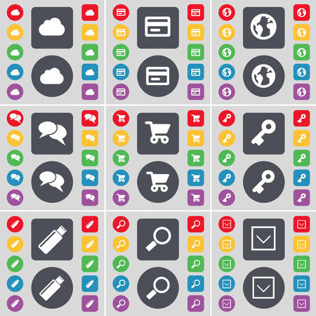 arrow down icon: Cloud, Credit card, Earth, Chat, Shopping cart, Key, USB, Magnifying glass, Arrow down icon symbol. A large set of flat, colored buttons for your design. illustration